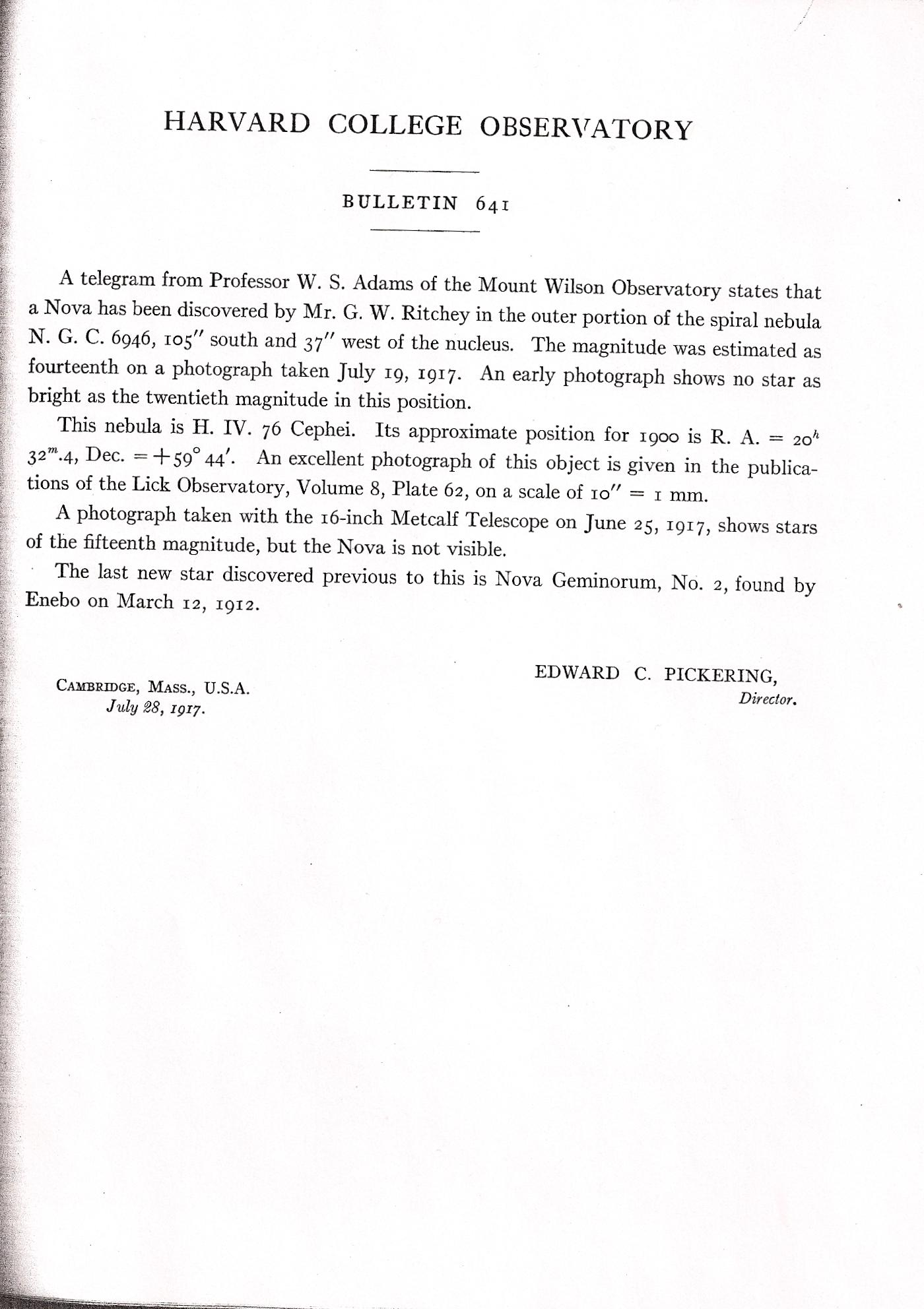 Harvard college observatory bulletins 23 hcob 641 falaconquin